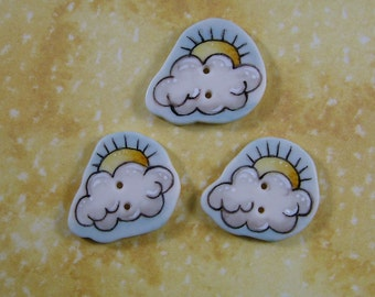 Partly Sunny Button set of 3