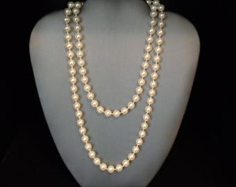 """Faux Pearl 36"""" Necklace - Hand Knotted - Vintage - Cream Color Faux Pearls"""