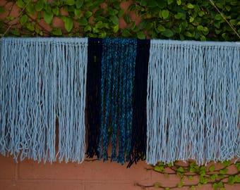 Blue Yarn Wall Hanging | Boho Wall Art | Macrame Wall Hanging | Bohemian Wall hanging Tapestry