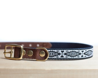 "Custom Leather Black/White/Blue Dog Collar. Navajo Black 3/4"""
