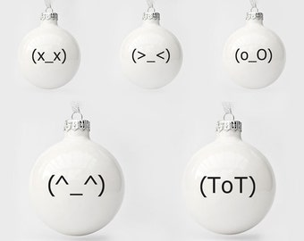 Funny Christmas Baubles, Modern Christmas Baubles Set of Five, Minimalist Christmas Ornaments
