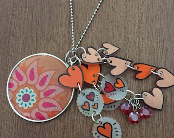 Flower blossom necklace with shrink art charms