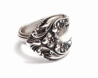 Sterling Silver Spoon Ring circa 1940 - Handmade Spoon Ring - Silverware Jewelry
