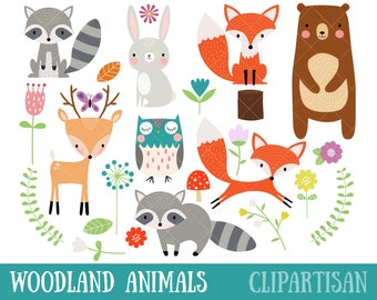 Woodland Animal Clipart | Fox | Bear | Raccoon | Deer | Owl | Nursery Art
