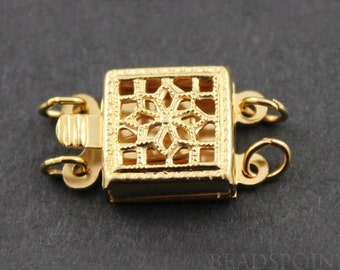 Gold Filled Filigree Box Clasp with 2 Ring,1 Piece, Sold INDIVIDUALLY, Just buy as many you need,(GF/403/2)