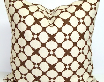 PILLOW.BROWN PILLOW.16x16 inch.Pillow.Brown Cream.Cushion.CmFloral.Brown.Chocolate Brown.cm.Decorative Pillow.Housewares.cm.Brown Accent