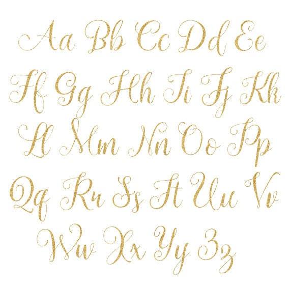 Gold fancy glitter alphabetgold glitter letterscursive font this is a digital file altavistaventures Gallery
