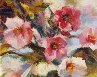 Flower Blossoms Oil Painting. Original Impressionistic Style Art. Small Painting with Pink and White Flowers by Frankie Johnson.
