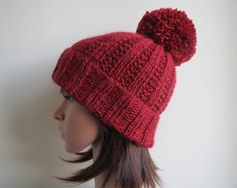 Red, Wool, Ribbed, Pom Pom Beanie Hat.  Chunky Red Bobble Hat.  Cosy, Soft, Red Fashion Beanie Handmade and Knitted, Thick, Warm Winter Hat.