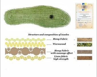 Natural 100% HEMP Insoles (for men / women) with wormwood. Ukrainian ORGANIC product / Vegan insoles