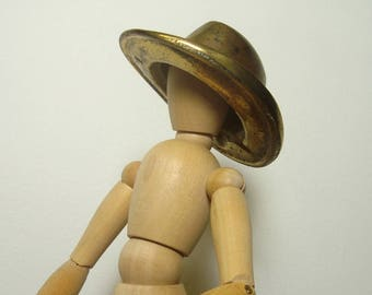 Brass Hat Paperweight Vintage Campaign Hat 6-4 Desk Accessory