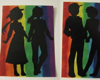 Gay Pride Sticker Rainbow Silhouettes | LGBT | No H8 | Stickers