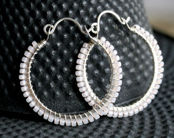 Light pink seed bead hoops, sterling silver, hoop earrings, Toho glass, pink, peach, wire wrapped, Mimi Michele Jewelry