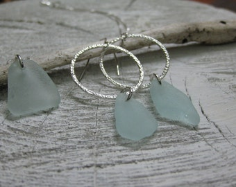 pale aqua sea glass, shipping inlcuded, silver jewelry sea glass necklace &  earrings, beach jewelry, SeaglassWithATwist