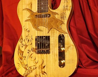 Custom Tribal Koi Fish Tattooed Telecaster Guitar Body with Custom Wood Pickguard and Gloss Polyurethane Finish - One of a Kind!