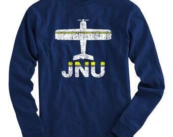 LS Fly Juneau T-shirt - JNU Airport Long Sleeve Tee - Men and Kids - S M L XL 2x 3x 4x - Juneau Alaska Shirt - 2 Colors