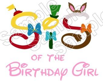 Alice and Wonderland Sis of the Birthday Girl Iron On Shirt Transfer