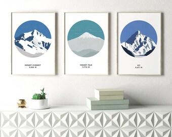 Set of 3 Mountain Prints, Mountain Art, Mount Everest, Mount Fuji, K2