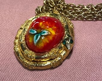 Vintage Fuller Brush Forbidden Fruit Perfume Locket Necklace