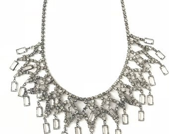Gorgeous Vintage Rhinestone Bib Statement Necklace // Rhinestone Crystal Bib Necklace