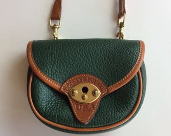 Vintage Dooney & Bourke Ivy Green Cavalry Body Bag // Authentic Rare Vtg All Weather Leather British Tan Mini Purse Festival Bag Crossbody