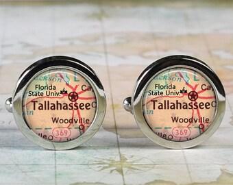 Florida State University cuff links, University map cufflinks graduation gift student gift for college student gift for graduate Tallahassee