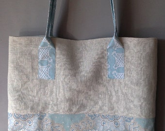The George Tote Bag in Pale Blues and Greys