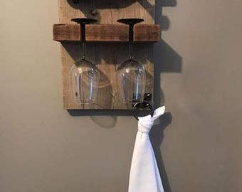 Reclaimed Wood Wine Bottle and Wine Glass Wall Rack