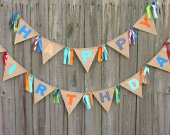 Happy Birthday Burlap Banner Bunting, Custom Made to match your theme
