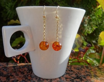 Gold Earrings with amber, very noble in 585 gold filled