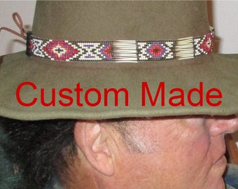 Custom made! Suede Braided Hatbands and Hatbands with Porcupine Quills and Glass Beads. Handcrafted in the USA for Western Style Hats
