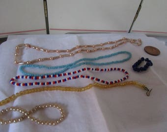 Lot of Beaded Necklaces Doll Jewelry small dolls Fashion Dolls Vintage 6 pc