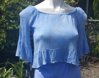 PP-Super cute summer top- Size Small-Altered couture- Concert clothing- Ocean blue-Tie dyed by hand-Remade designer top-Teen fashion-