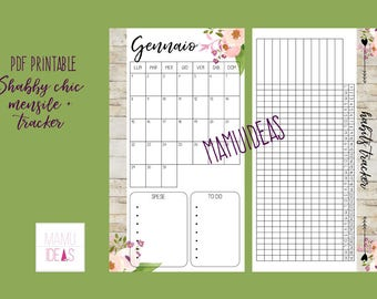 Refill 2018 Monthly + habits tracker SHABBY CHIC-personal-dated-English-printable pdf-for Filofax, Kikkik, Websters etc.