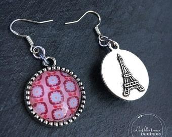 Earrings cabochon pink reverse Apple Retro Paris