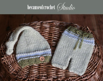 PDF Knitting PATTERN for beginners - Newborn baby hat and pants. Size 0 months. Knitted with straight needles. Written in US terms.