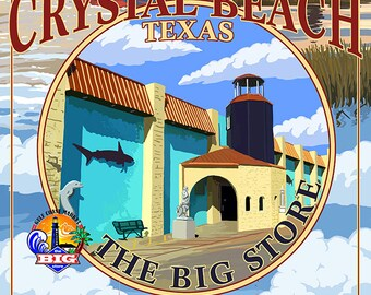 Crystal Beach, Texas - The Big Store Montage (Art Prints available in multiple sizes)