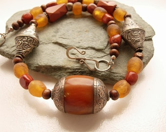 Red, tribal necklace, handmade, gift for her, moms gift, boho statement necklace, ethnic jewelry, orange  silver  Nepal Tibetan jewelry,