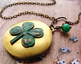 Clover Locket Necklace, shamrock lucky four leaf clover Saint patricks day locket necklace, Shamrock clover necklace
