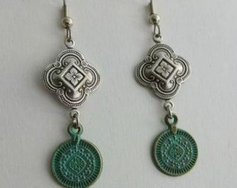 Quatrefoil Earrings antiqued silver plated brass embossed floral pattern