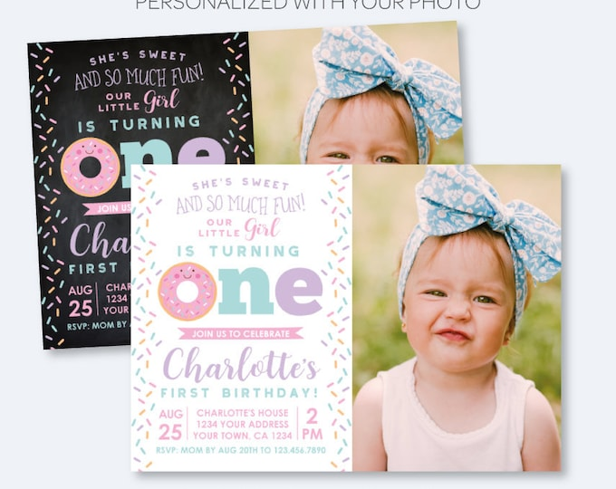 Donut First Birthday Invitation with Photo, Sprinkles Birthday Party, 1st Birthday Girl Invite, Personalized Invitation, 2 options