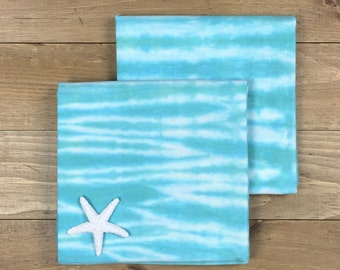 Turquoise Tea Towel Set, 2 Turquoise Kitchen Towels, Blue & Green Kitchen Towels, Tie Dye Towels, Shibori Towels