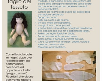 Zisa doll sewing pattern + step by step tutorial, PDF, in Italian