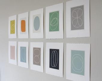 Set of TEN original screenprints. Handmade abstract minimal art, feature wall by Emma Lawrenson
