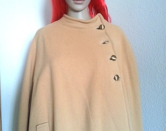 Women's 1960s/70s Super MOD Brown Wool Cape OS