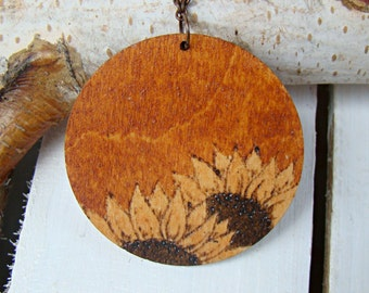 made to order wooden pendant wooden necklace woodburned pendant natural necklace woodburned necklace sunflowers pendant pyrography