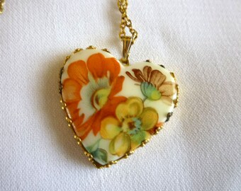 Porcelain Heart Pendant With Chain Signed Korea