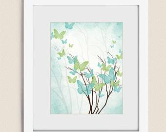 11 x 14 Girls Wall Art, Butterfly Decor For Girls, Butterfly Art Print, Butterfly Wall Art for Girl  (307)