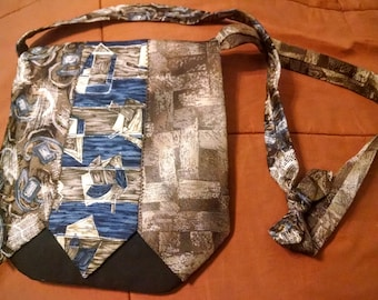 "Upcycled Tie Magnetic Closure Small Purse Handbag - ""Sandy"""