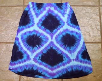 Woven Blue: Tie Dyed Rayon Mid-length Skirt; Women's Large